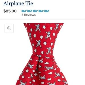 preppy Vineyard vines airplane pilot silk tie red